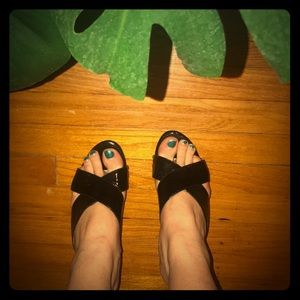 Black Patent Leather & Metal Criss Cross Wedge